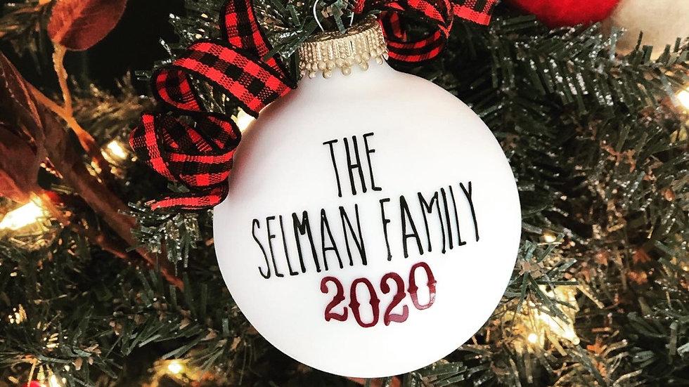 Mini glass family name ornament
