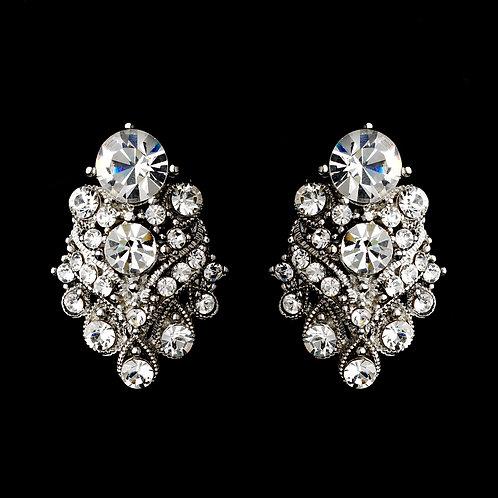 Clip-on silver cluster earrings for non-pierced ears