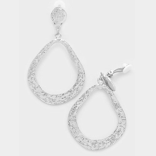 Clip-on irregular drop hoop earrings, silver