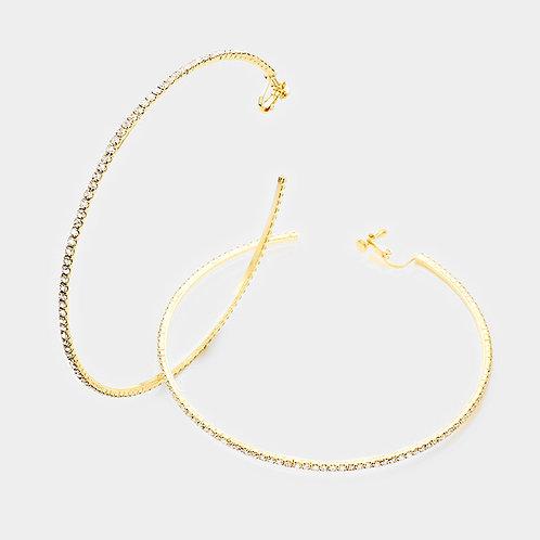 10cm Rhinestone Studded Clip-On Hoops, Gold