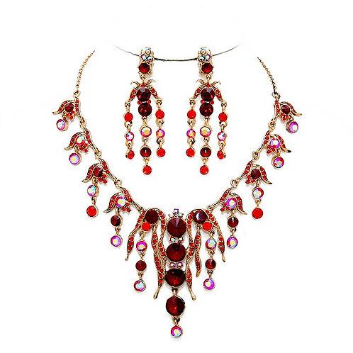 Necklace set with clip-on earrings, garnet and red crystal
