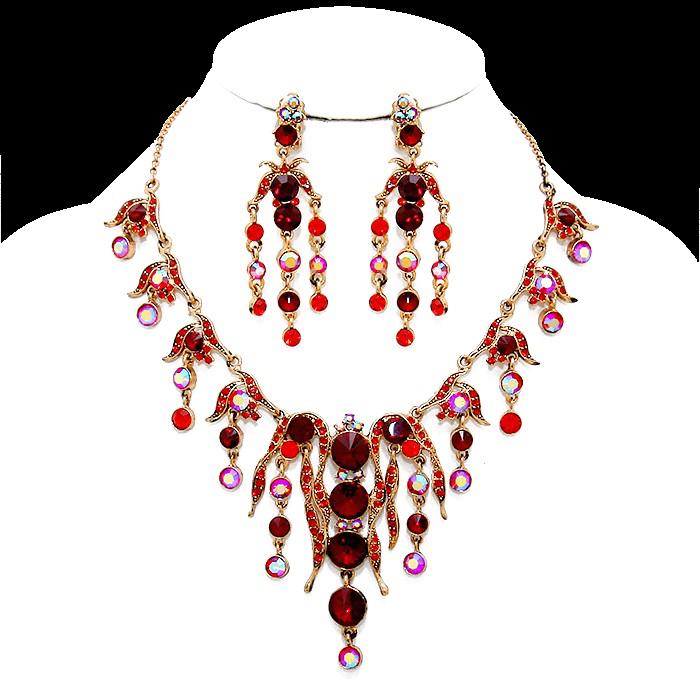 Flamboyant Garnet Red Clip Earring Necklace Set
