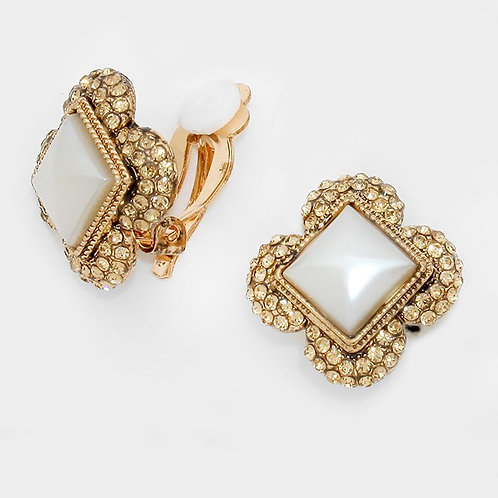 Vintage styled topaz square clip on earrings