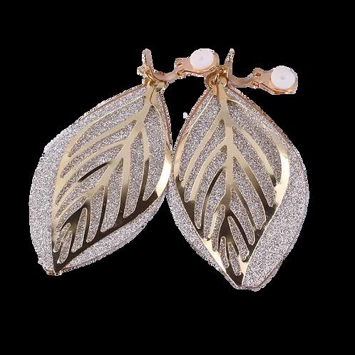 Gold and Glitter Flat Leaf Clip Earrings