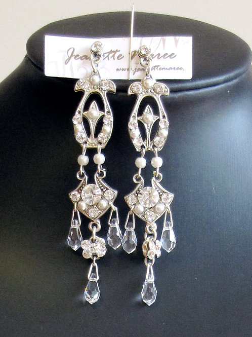 Long pewter chandelier earrings by Janette-Maree