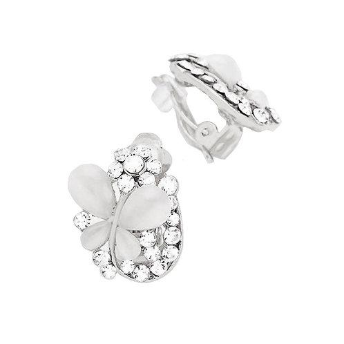 Butterfly on a Petal Clip Earrings, Silver