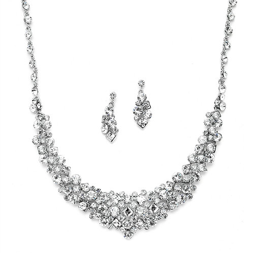 Sparkling statement formal bridal necklace and earrings set