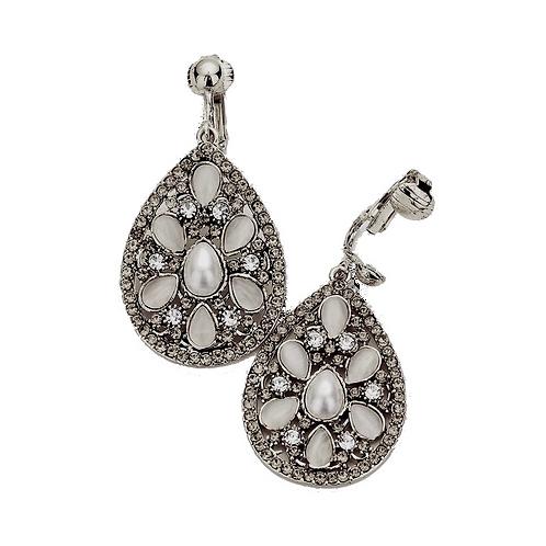 Fancy Opalescent Drop Clip Earrings, Dark Silver