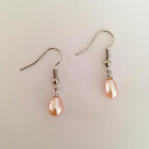 Pink Pearl Shepherd Hook Earrings
