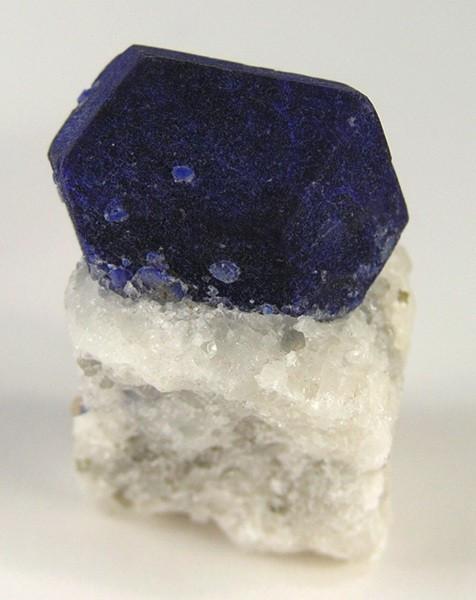 Lazurite Crystal on Calcite Base