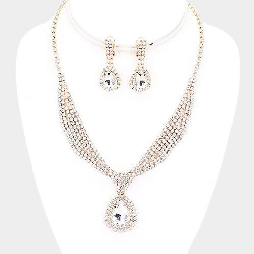 Rhinestone Sash Collar Clip Earring Necklace Set, Gold
