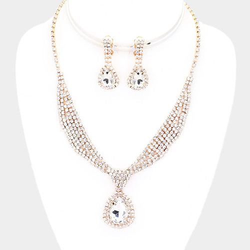 Rhinestone Sash Collar Clip Earring Necklace Set