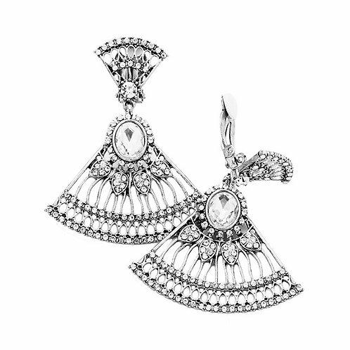 Silver Art Deco Filigree Fan Earrings