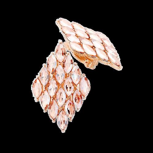 Marquis Diamond Shaped Clip Earrings, Peach