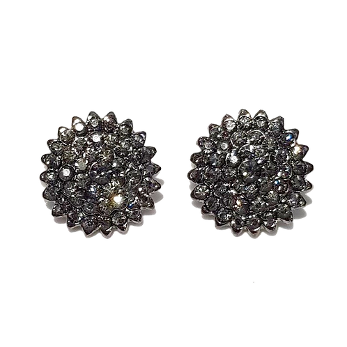 Hematite Rhinestone Disc Clip Earrings