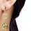 Gold Filigree and Peridot Glass Drops Clip Earrings on Model