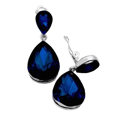Navy Blue Pear Drop Clip On Fashion Earrings