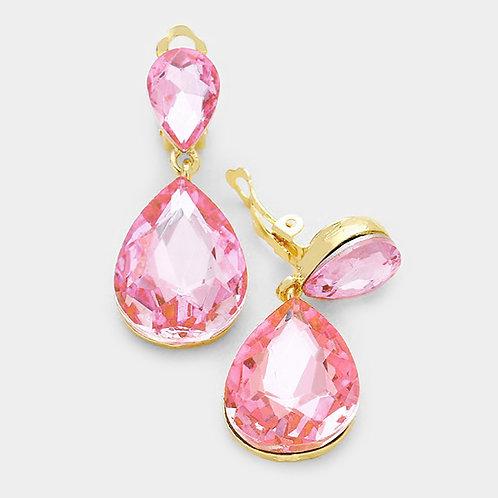 Pink Pear Drop Fashion Clip Earrings