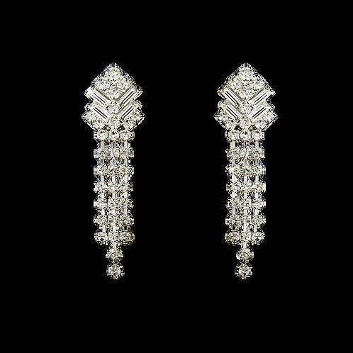 Art Deco Rhinestone Fringe Clip On Earrings, Silver
