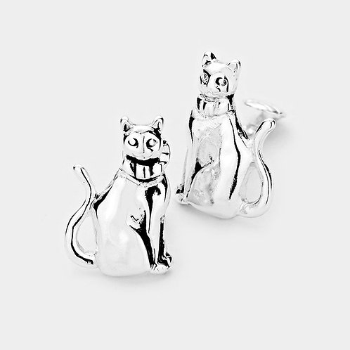 Silver Cat Clip On Earrings