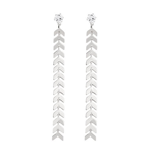 Long Silver Chevron Clip-On Earrings