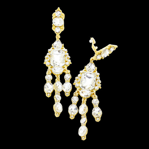 Long clear crystal gold chandelier clip earrings glamorous long chandelier clip on earrings gold aloadofball Image collections