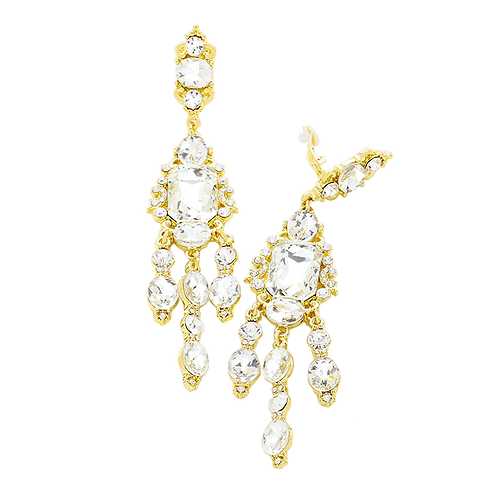 Glamorous long chandelier clip-on earrings, gold