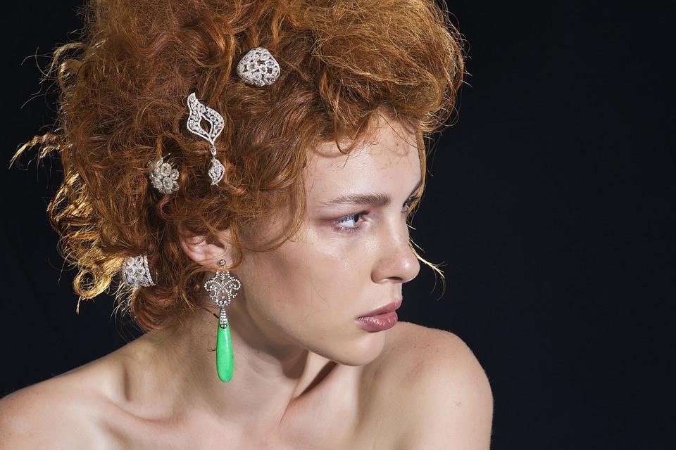 Clip On Earrings Worn In Hair