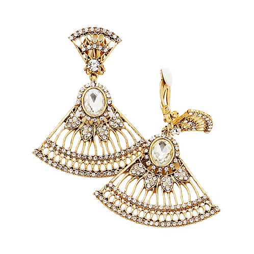 Gold Art Deco Filigree Fan Earrings