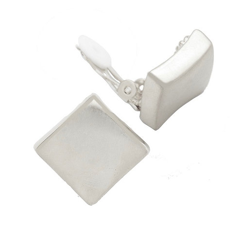 Wavy Square Button Clip Earring, Silver