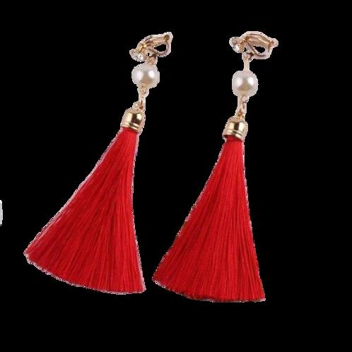 Pearl and Red Tassel Clip Earrings