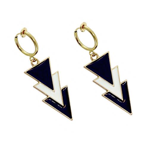 Monochrome Stacked Triangle Clip Earrings