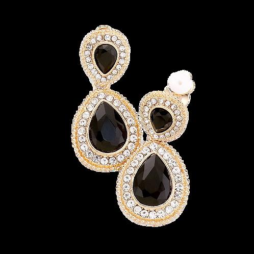 Dainty Pear Drop Clip Earrings, Black Gold