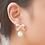 Pink Enamel Ribbon and Pearl Clip Earrings on Model