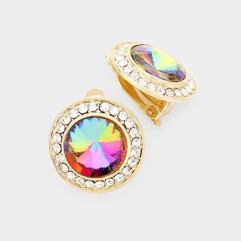 Pave Framed Rainbow Vitrail Button Clip On Earrings