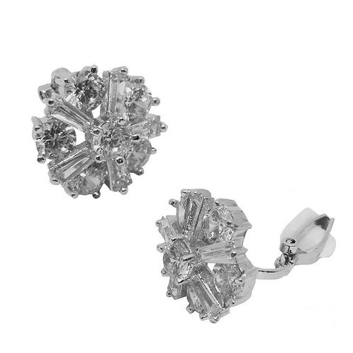 Five Point Crystal Flower Clip Earrings, open clip
