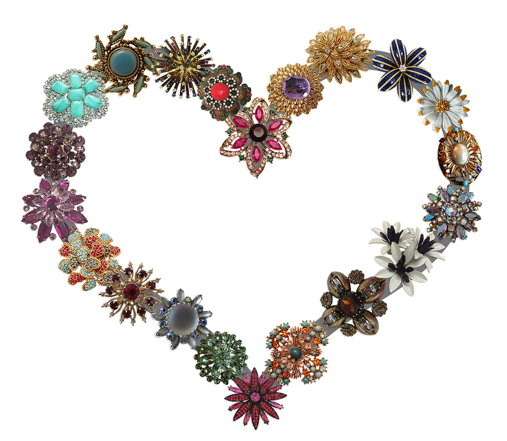 A Selection of Colourful Brooches in a Heart Shape