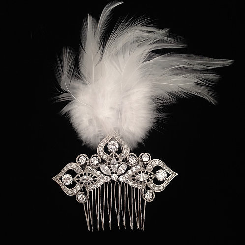 White Feathered Bridal Comb by Prive Bridal