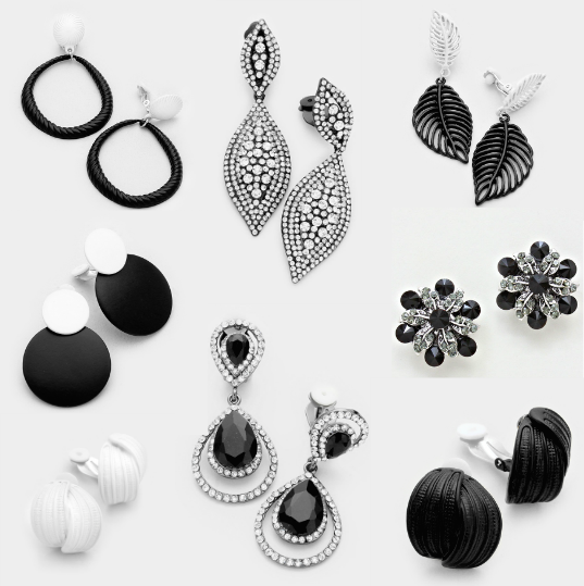 A Selection of Black and White Clip-On Earrings