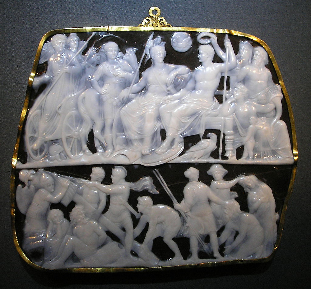 Roman Carved Onyx Cameo Pendant featuring White Tableau on Black