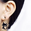 Black Cat Enamelled Clip-On Earrings on model