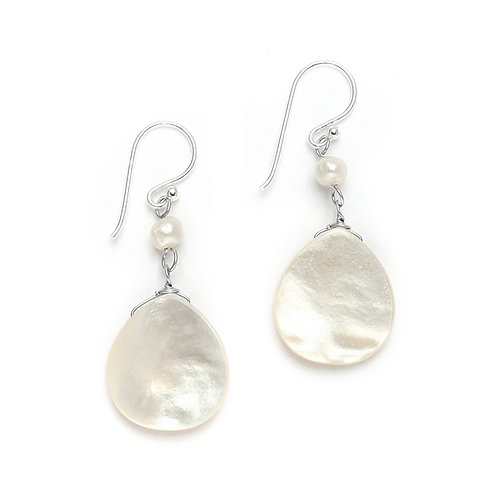 Freshwater pearl and mother of pearl hook earrings