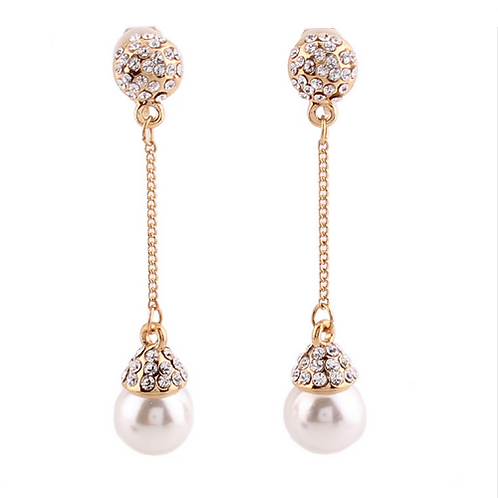 Pearl and Crystal Chain Drop Clip Earrings, Gold