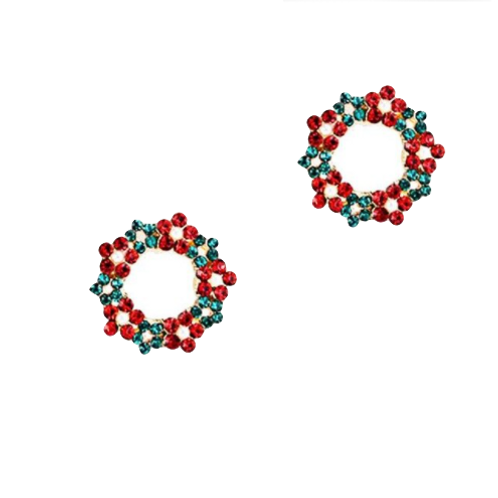Red and Green Crystal Wreath Clip Earrings