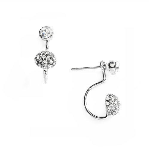 Silver crystal ball suspension earrings