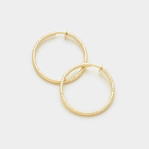 Textured Gold 3cm Clip On Hoops