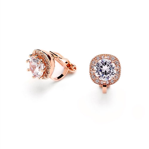 Pave Framed Solitaire CZ Clip Earrings, Rose Gold