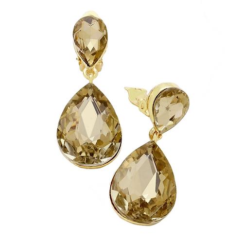 Light Colorado Topaz Pear Drop Fashion Clip Earrings