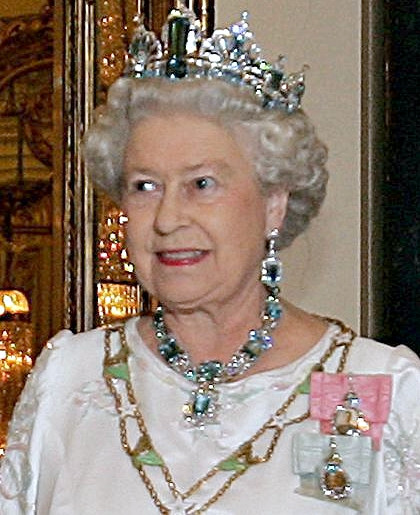 Queen Elizabeth II in Aquamarine Crown Jewels