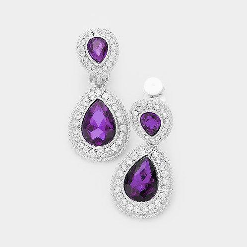 Dainty Pear Drop Clip Earrings, Amethyst Purple